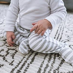 baby pants crawler play footy celestial grey stars moon cotton gift cozy stripes