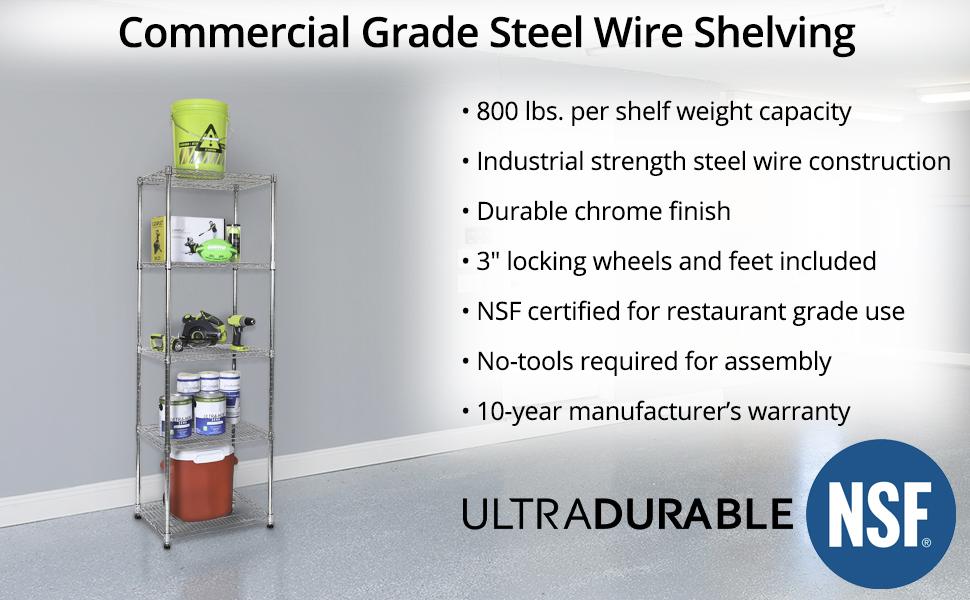 sevilleclassics steel iron metal caster wheel rolling shelving shelf storage home garage