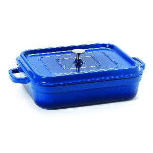 heiss, blue, cast, iron, pot, roaster, serving, handle, le creuset, get