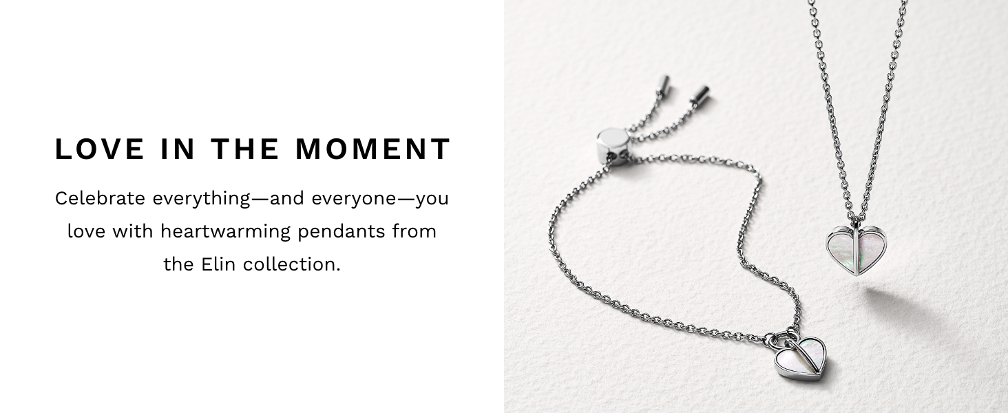 Silver Heart Shaped Necklaces Skagen Elin Collection
