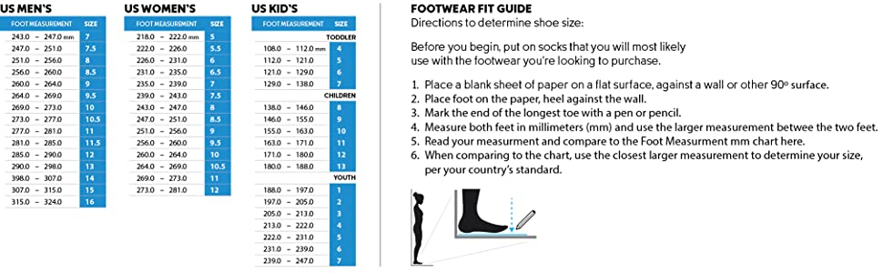 Columbia Shoe size and fit guide
