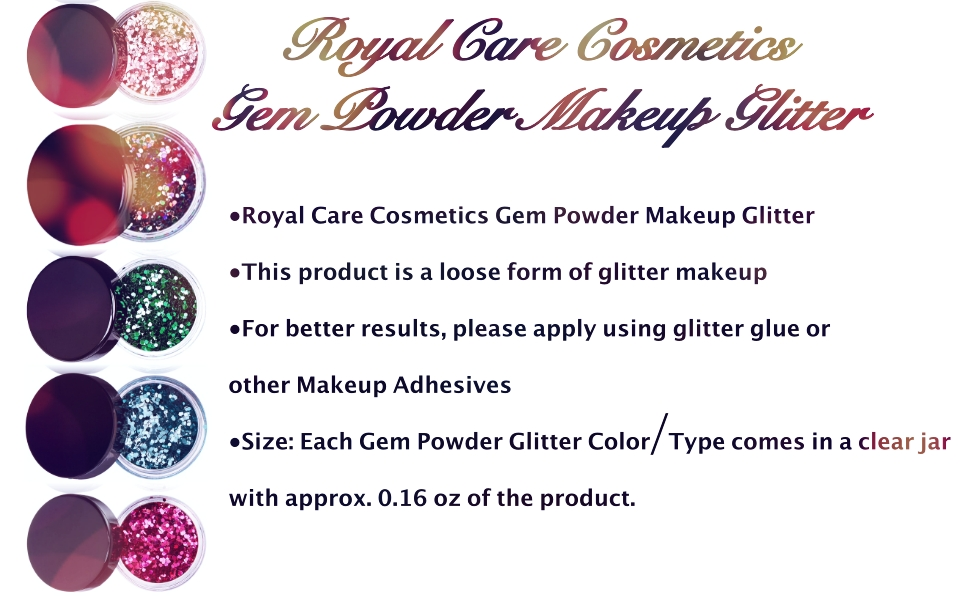 Gem Powder Glitter From Royal Care Cosmetics is perfect for nails, hair, skin and face.