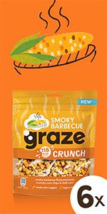 graze smokey barbecue crunch peulvruchten & groenten snack   6 x 104 gram