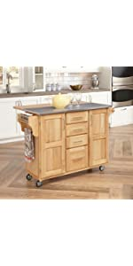 Stainless Steel Top Kitchen Cart With Breakfast Bar, Natural Finish ·  Kitchen Cart With Breakfast Bar, Natural Finish · Dolly Madison Kitchen  Cart, ...