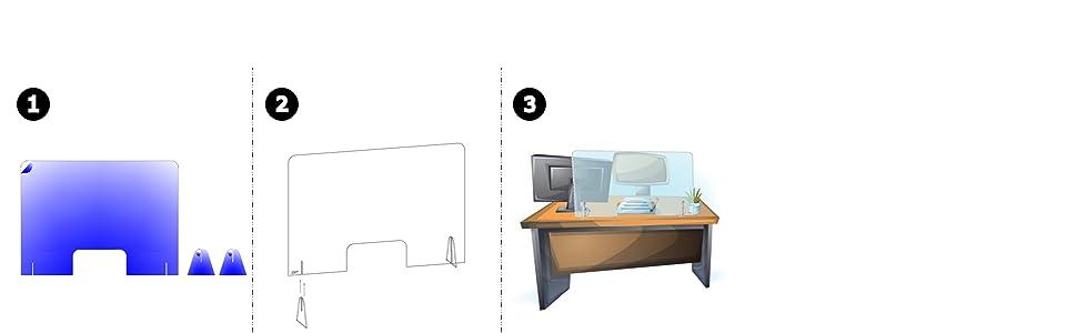 Mampara de protección con Ventana - Mostrador, oficina, comercio, restaurante - Metacrilato transparente - 100x67cm: Amazon.es: Industria, empresas y ciencia