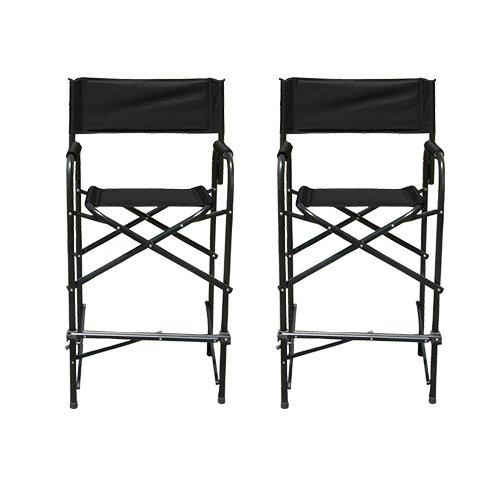 Impact Canopy Tall Folding Directors Chair, Heavy Duty, Set of 2 Chairs, Black