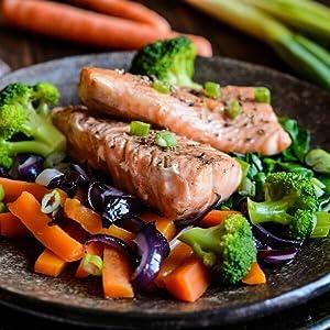 Cuiseur vapeur Ariete Healthy Steam 911 cuisson à la vapeur au saumon à la vapeur