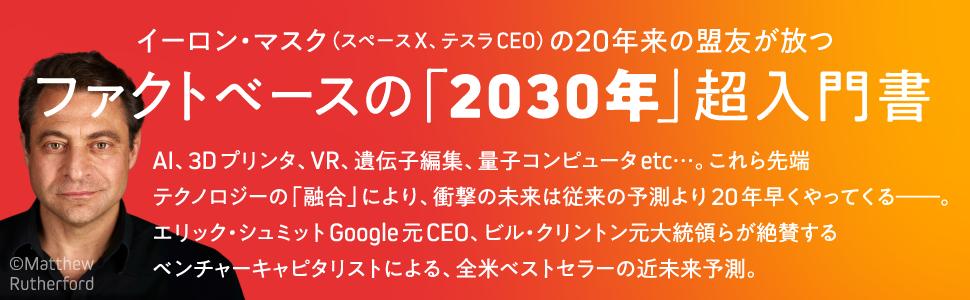 2030年, 2025年, 2040年, ディアマンディス, イーロン・マスク, テスラ, エリック・シュミット, 5G, ナノテク, AI, 3Dプリンタ, 未来予測, 山本康正, 成毛眞,