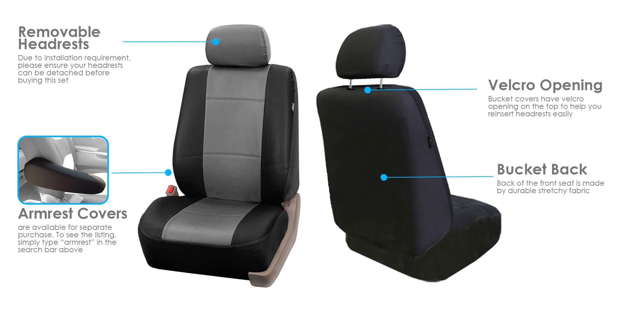 Fh Group Classic Faux Leather Car Seat Cover Set