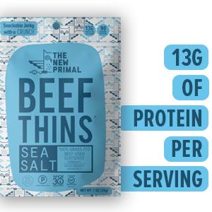Beef Thins, Sea Salt, High Protein, Beef Chip