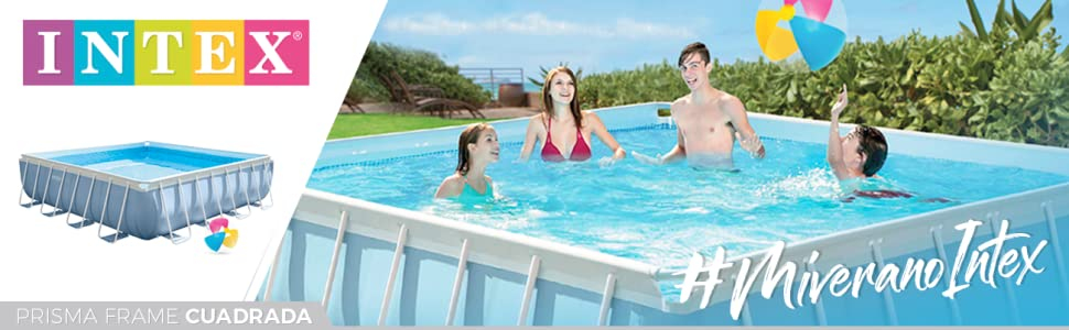 Intex 26764NP Piscina desmontable cuadrada, on depuradora, 427 x ...