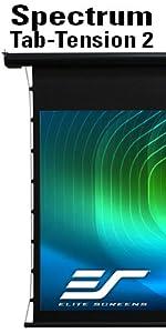 Elite screens spectrum tab tension 2 electric motorized front flattest ceiling 4k ultra hd projector