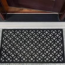 DII Modern Indoor/OutdoorRubber Entry Way Doormat For Patio, Front Door, All Weather Exterior Door
