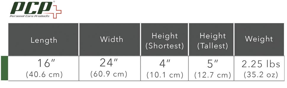 PCP 6155 Size Chart