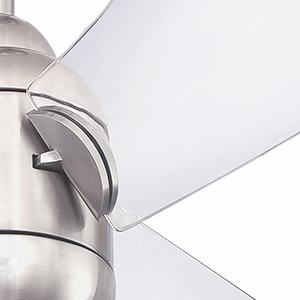 Brushed nickel ceiling fan with 3 clear acrylic blades and LED light fixture.