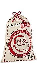 Extra large reusable drawstring christmas gift bag made of canvas and looks like Santa's bag of toys