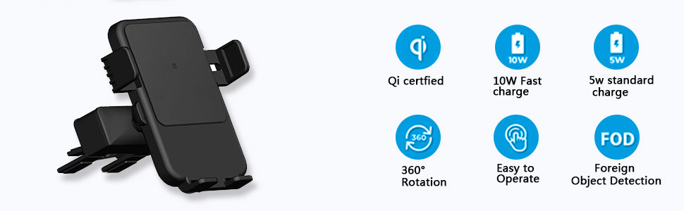 Qi Wireless Charger Car Mount HMCC CD Slot Phone Holder Silicone Protection 360/° Rotatable One-Touch Design Compatible iPhone Xs Max//XS//XR//X//8 Samsung Galaxy S10e//S10+//S10//S9//S9 Plus//S8