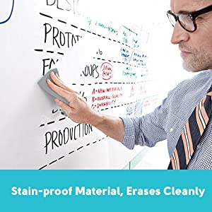 stain-proof material, erases cleanly