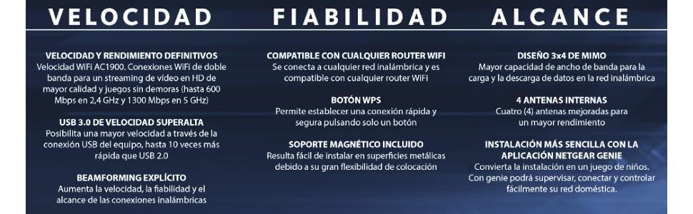Netgear A6150 - Adaptador WiFi inalámbrico AC1200 de Doble Banda con USB 2.0