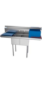 2 compartment commercial stainless steel sink restaurant prep utilitty bowl nsf double drainboard