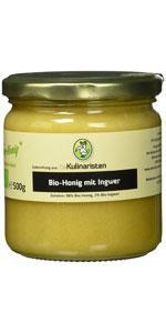 Die Kulinaristen Bio-Honig mit Ingwer im 250g oder 500g Glas