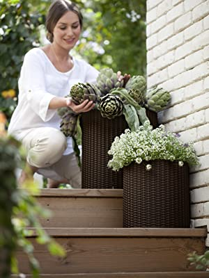 Keter cylinder planters indoor outdoor flower pots set of 3