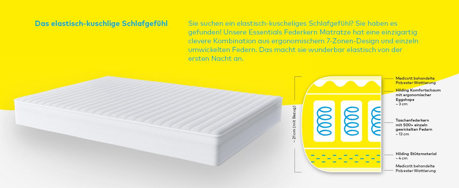 Hilding Sweden Essentials Federkernmatratze In Weiss Mittelfeste