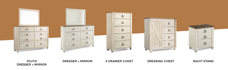 youth dresser mirror 5 drawer chest of drawers dressing media chest nightstand night stand farmhouse
