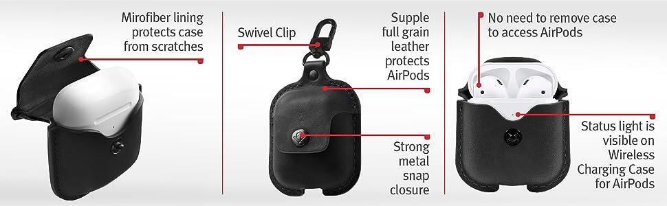 microfiber interior, genuine leather exterior, strong metal snap closure