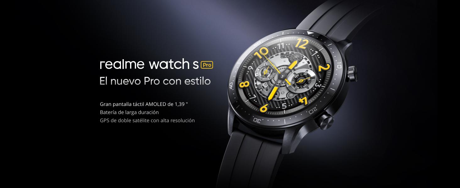realme Watch S Pro Smartwatch, 14 días de duración de la batería, GPS de doble satélite, Resistencia al agua de 5 ATM, Monitor de Oxígeno en Sangre y frecuencia cardíaca