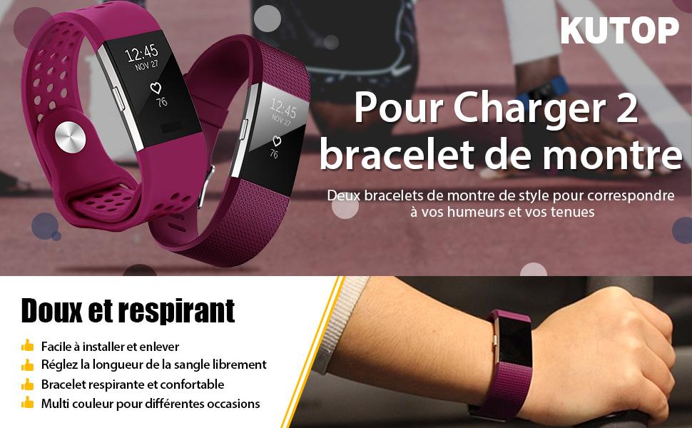 Charge2 Remplacement du Bracelet de Montre en TPU Silicone Molle Sportif et R/églable pour Fit bit Charge 2 KUTOP pour Fitbit Charge 2 Bracelet