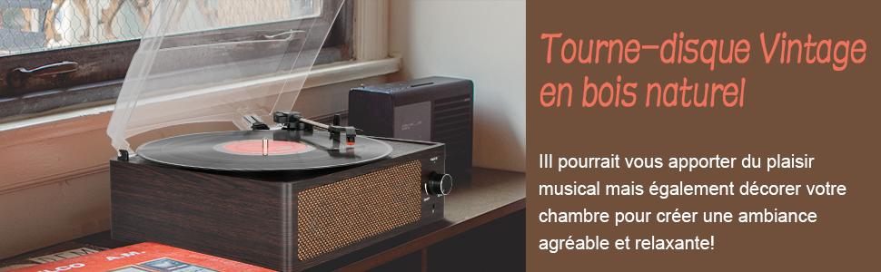 Platine Vinyle Bluetooth Tourne Disque de Conversion avec Trois Vitesses 33//45//78 et Enceintes St/ér/éo R/étro Entra/înement par Courroie Portable Platine Vinyle Plug Play RCA AUX