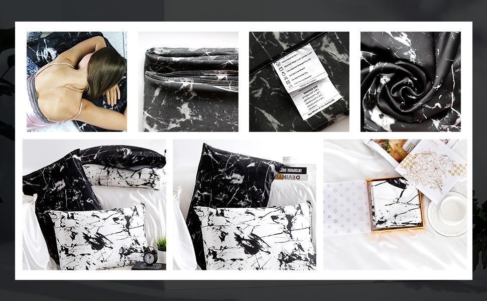 LilySilk Taie d Oreiller en Pure Soie Taie Oreiller Imprim/é 1 Pi/èce Fermeture Eclair Invisible Housse de Coussin D/écoratif Soin des Cheveux 19MM 40x60cm Imprim/é Marbre Blanc