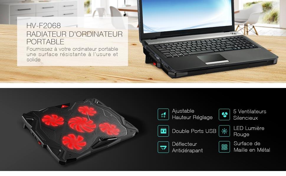 94e3faead6 HAVIT Refroidisseur PC pour Ordinateur Portable, Hauteur Réglage, 5 ...