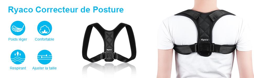 RYACO Correcteur de Posture Dos Épaules Réglable Support Sangles Orthèse de Maintien pour Soulager Les Douleurs Dorsales, Thoraciques, Clavicule pour Hommes et Femmes