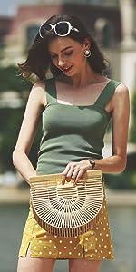 Pomelo Best Sac Bandouli/ère Femme Sac Messenger Cabas Sac D/épaule Sac Fourre-Tout Tress/é par Rotin Plage d/ét/é avec bandouli/ère ajustable
