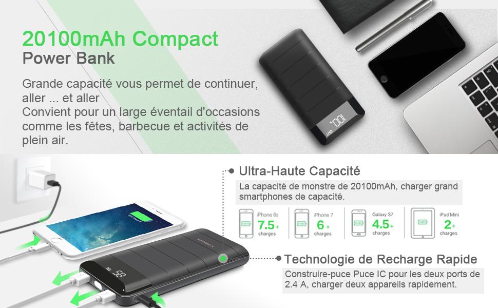 power bank x dragon 20100mah chargeur portable batterie. Black Bedroom Furniture Sets. Home Design Ideas