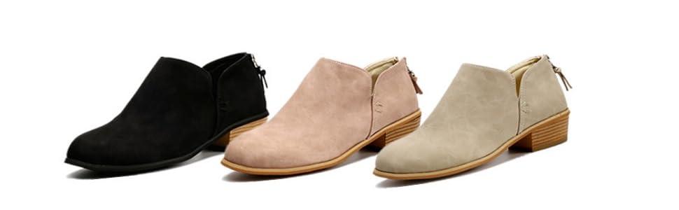 b903dadaf1aa Bottine Femmes Plates Boots Femme Cheville Basse Cuir Bottes Talon ...