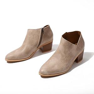a0d20fcbc3b1c0 Bottine Femmes Plates Boots Femme Cuir Cheville Basse Bottes Talon Chelsea  Chic Compensé Grande Taille Chaussures
