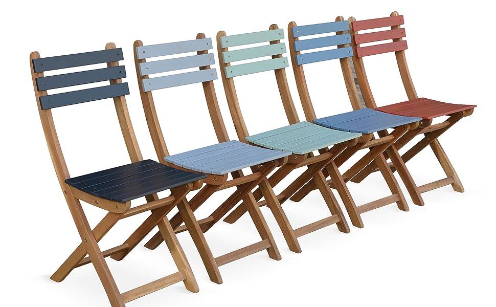 Pliante Bicolore carrée en Acacia avec 2 chaises Pliables ...
