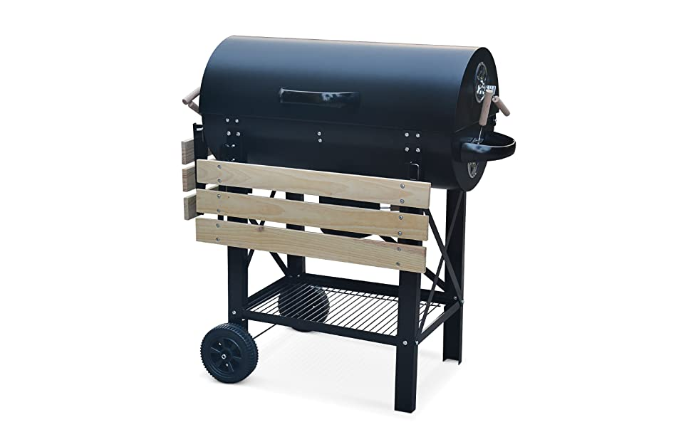 Serge : barbecue à charbon de bois type fumoir américain