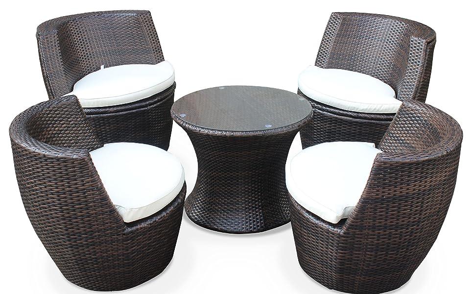 Salon de Jardin encastrable et empilable en résine tressée - Bologna -  Chocolat, Coussin écrus - 4 Places - Une Petite Table Ronde et 4 fauteuils