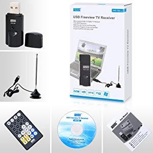 August - Sintonizador de TV USB Freeview DVB-T202 - Ver TV en su PC - No necesita conexión a Internet - Compatible con Windows 10/8/7/Vista/XP