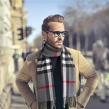2aa7c4250d4b Jorlyen Echarpe Homme - Plus Douce que le Cachemire Wool Touch ...