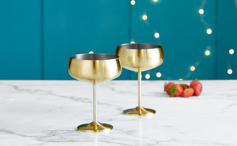 Jeu de 2 Coupes à champagne en or brossé VonShef : acier