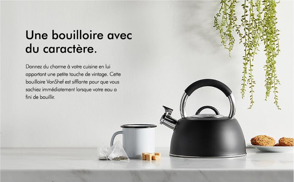 VonShef vintage élégant en Acier Inoxydable Cuisinière ébullition sifflet et plaque de cuisson Bouilloire