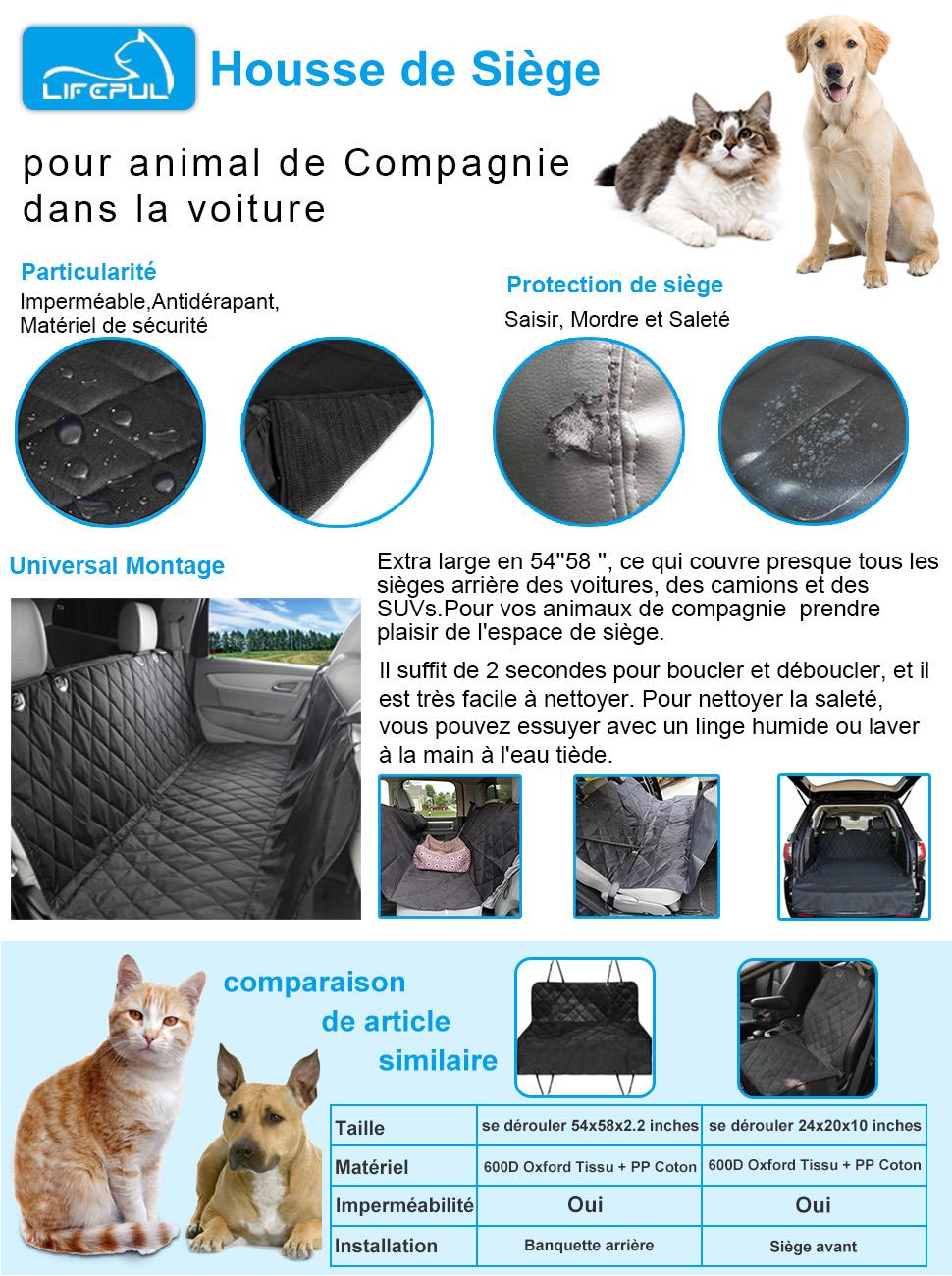 Lifepul tm housse de si ge pour chien chat banquette for Housse protection siege voiture pour chien