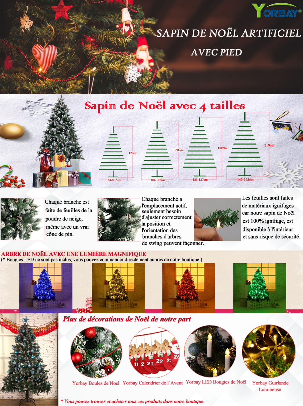 Yorbay sapin de no l avec support pour 240 cm 120 cm no l for Decoration de noel amazon