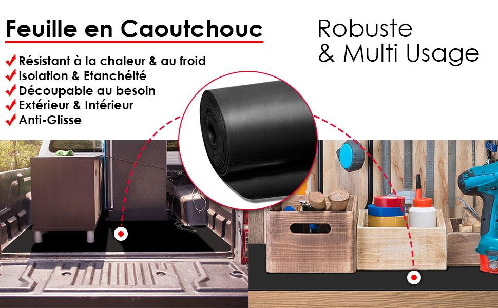 9 Epaisseurs au m/ètre Plaque en Caoutchouc pour Projet Bricolage Epaisseur 1mm 120x300 cm Garage Palette Rouleau Caoutchouc Antid/érapant Feuille de Caoutchouc NR//SBR