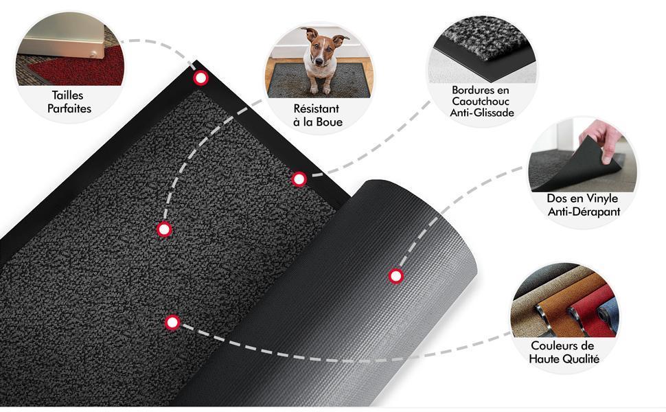 tapis lavable anti-derapant anti-glisse robuste couleur absorbant humidité salete poussiere rouge